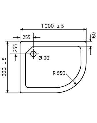 duschwanne 90x100 cm links viertelrund duschtasse superflach von hsk 505211. Black Bedroom Furniture Sets. Home Design Ideas