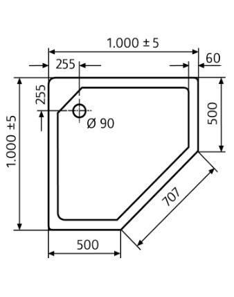 duschtasse f nfeck 100x100 cm flach von hsk 515100. Black Bedroom Furniture Sets. Home Design Ideas