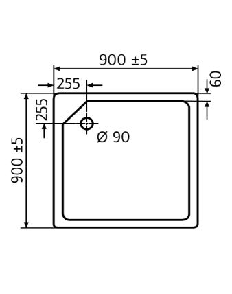 duschwanne 90x90 cm duschtasse superflach von hsk 525090. Black Bedroom Furniture Sets. Home Design Ideas