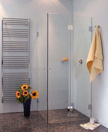 fkas eck falt dusche mit 2 tren klarglas chrom h - Duschen Aus Glas Barrierefrei 2
