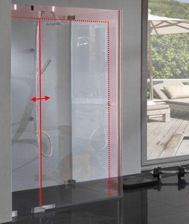 Dusche Glas Sondermaß mit Pendel Drehtür und Seitenwand von Combia