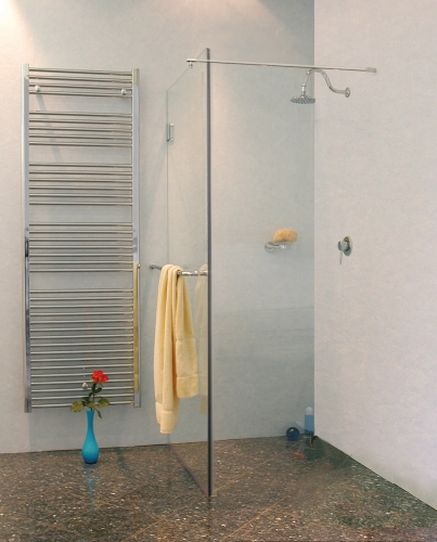 combia freistehende duschwand glas rahmenlos h 195cm bpo ebay. Black Bedroom Furniture Sets. Home Design Ideas