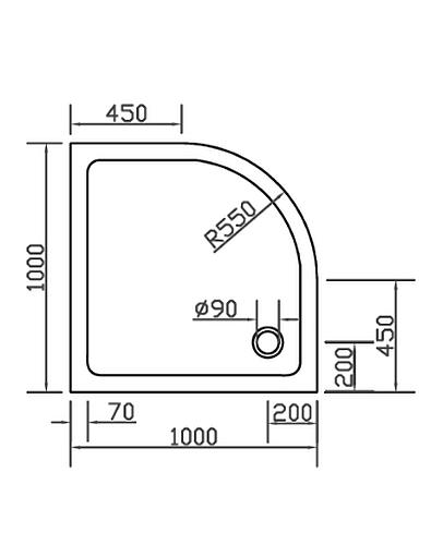 combia duschwanne duschtasse viertelkreis anti rutsch 100x100cm sl1010v ws a. Black Bedroom Furniture Sets. Home Design Ideas