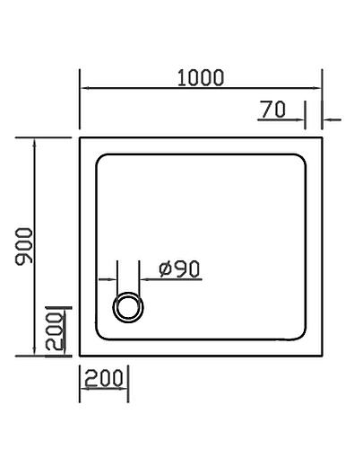combia duschwanne duschtasse flach anti rutsch 100x90cm wei sl1090e ws a ebay. Black Bedroom Furniture Sets. Home Design Ideas