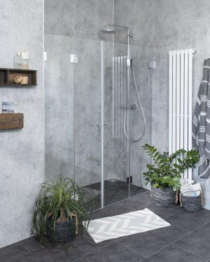 Falttür Dusche in Nische, Faltdusche aus Glas, Combia F2Nam