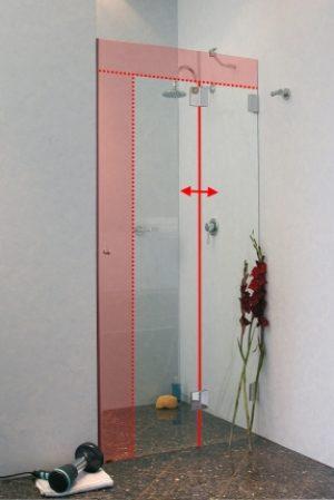 M2N, Duschtür nach Maß in Nische, Klarglas oder Milchglas, Chrom