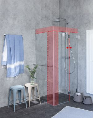 Eck-Dusche Sonderanfertigung mit Seitenwand Glas von Combia
