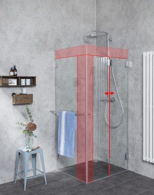 Faltbare Dusche Sondermaß mit Seitenwand aus Glas