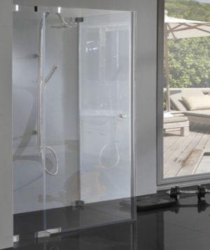 Eck Dusche bodenebene Maße mit Seitenwand, 8mm Glas, chrom ...