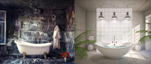 moderne Badezimmer mit freistehender Badewanne