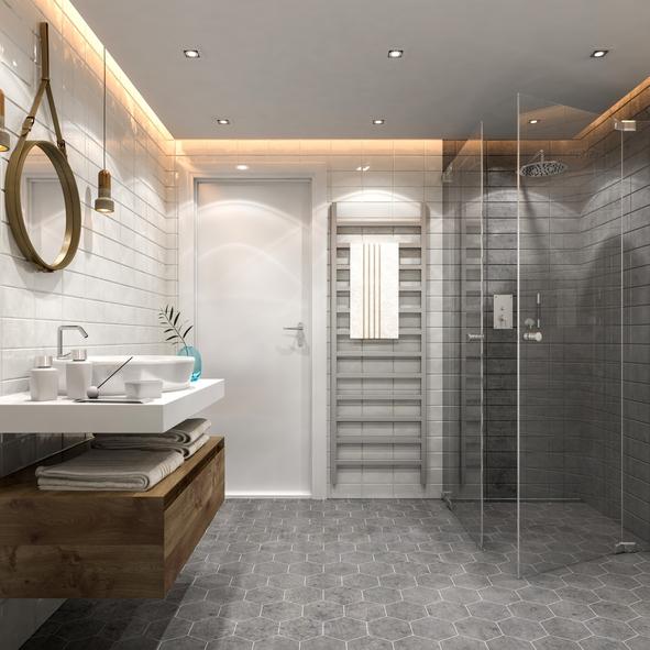 Ein Modernes Badezimmer Inklusive Einer Dusche Mit Pendeltüren