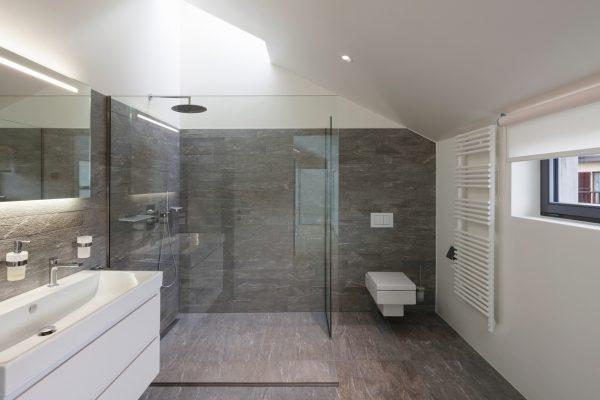 große Glasdusche in modernem Bad
