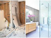 Badezimmer vor und nach einer Sanierung