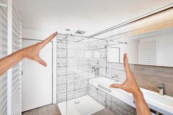Skizze einer Dusche in einem Badezimmer
