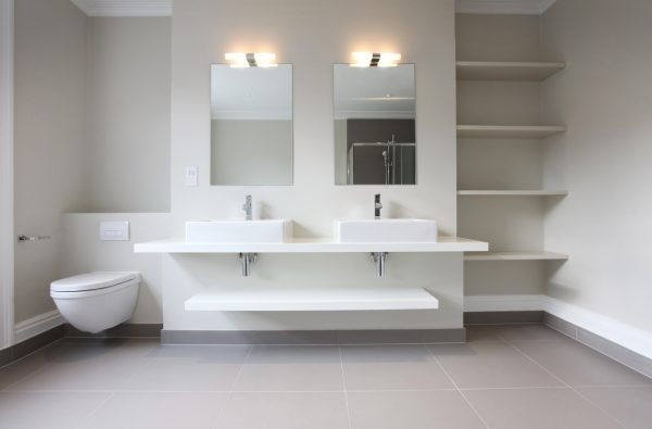 zwei moderne Waschbecken im Bad