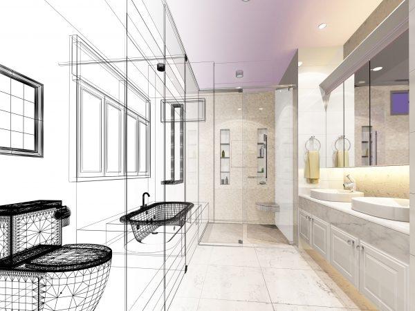 Simulation eines Badezimmers mit einer 3D Software