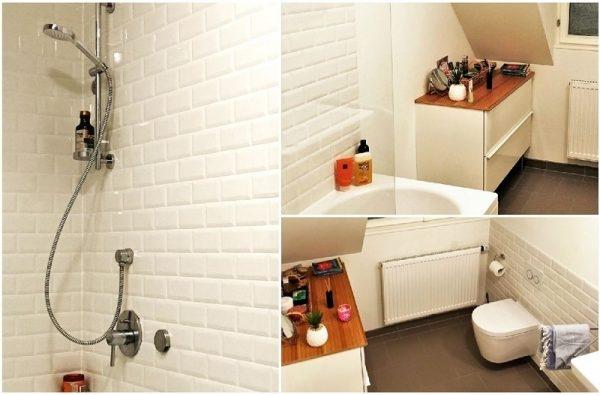 Badezimmer mit weißen Metrofliesen