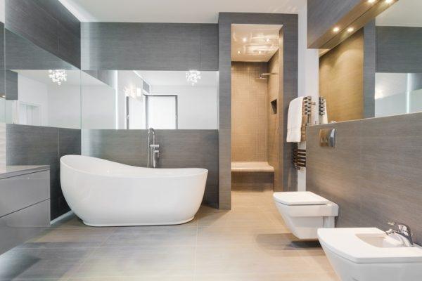 Minimalistisches Bad Mit Grauen Wänden