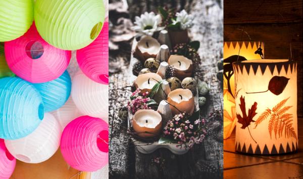 Lampions, Eier-Kerzen und Natur-Windlichter