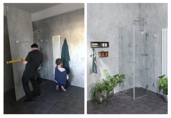 Moderne und hochwertige Dusche im Badezimmer