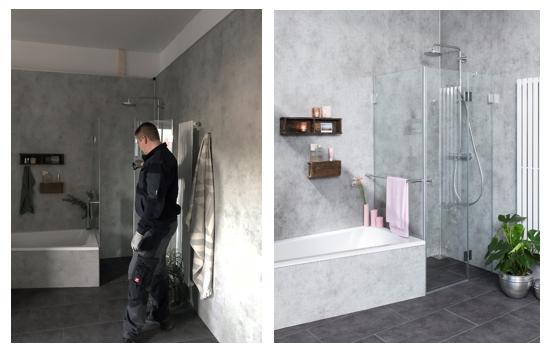 Produktbild moderner Dusche mit Badewanne