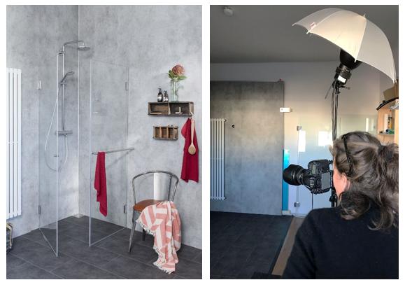 Bodengleiche Dusche in modernem Badezimmer