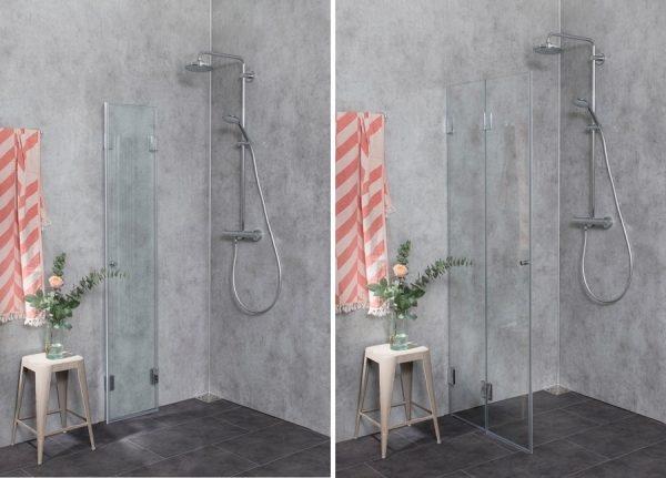 Offene Dusche mit Falttür als Alternative zum Duschvorhang