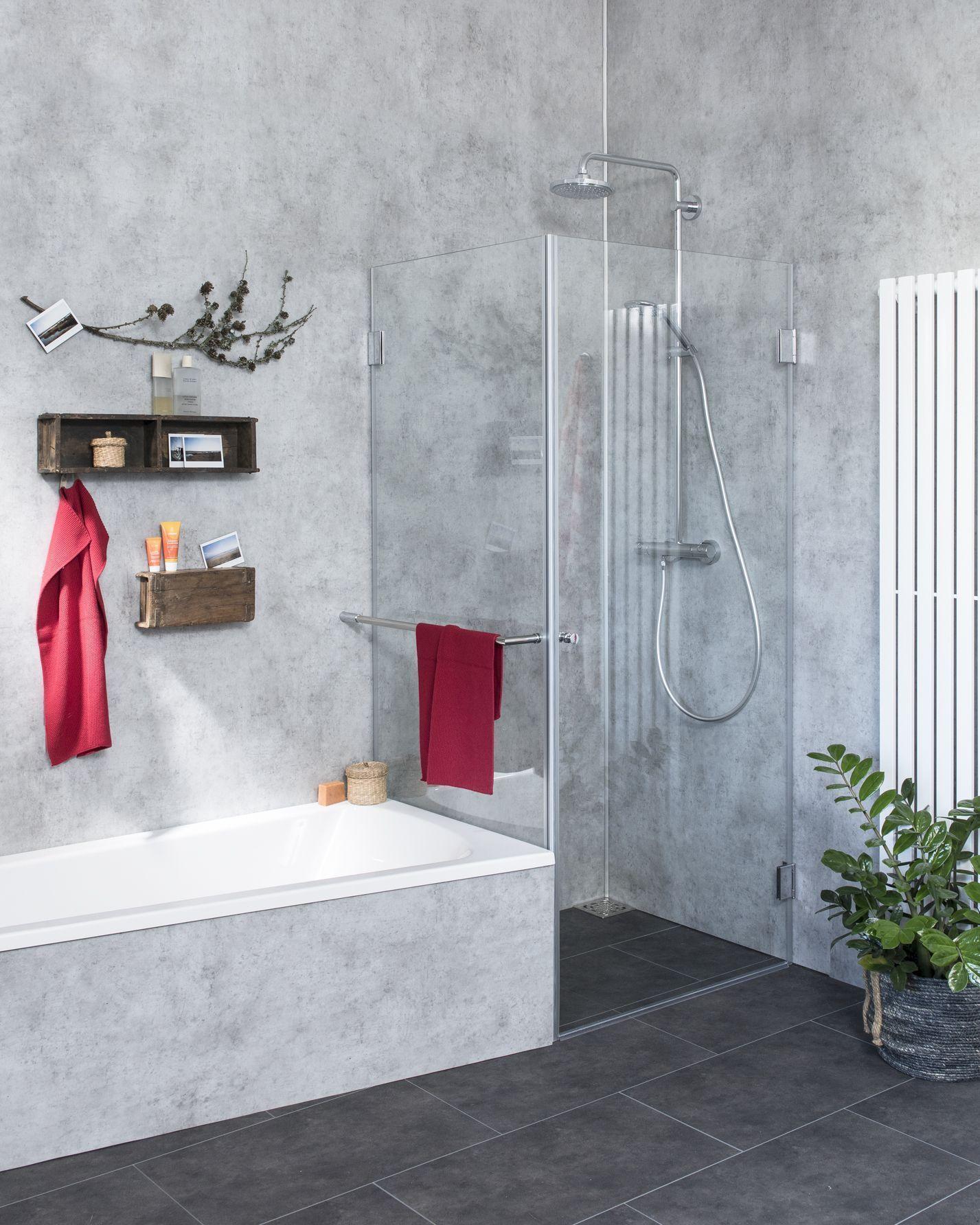Eck-Dusche mit Festwand verkürzt ESG Glas Chrom H=195cm
