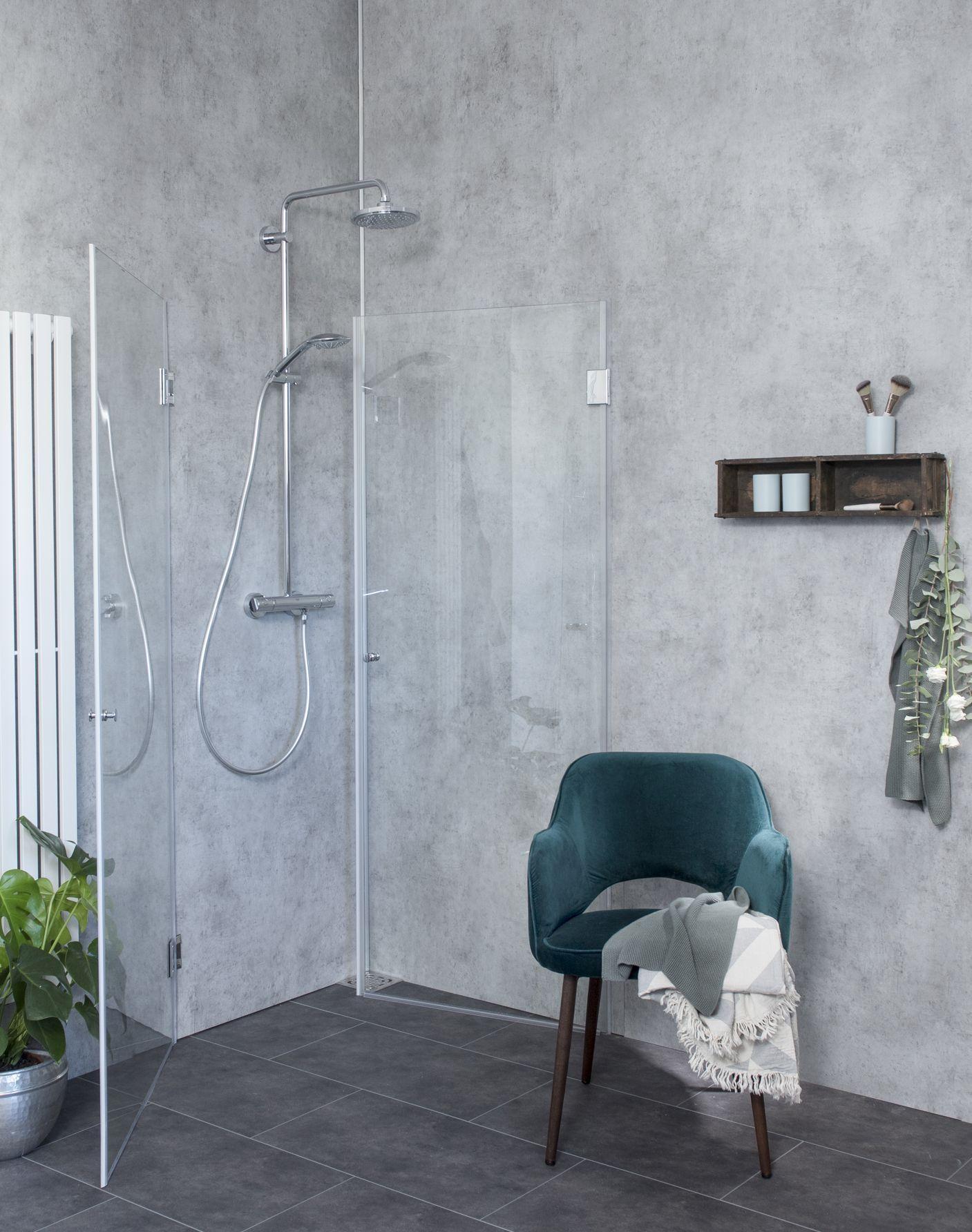 Eck-Dusche mit 2 Türen ESG Glas Chrom H=173cm