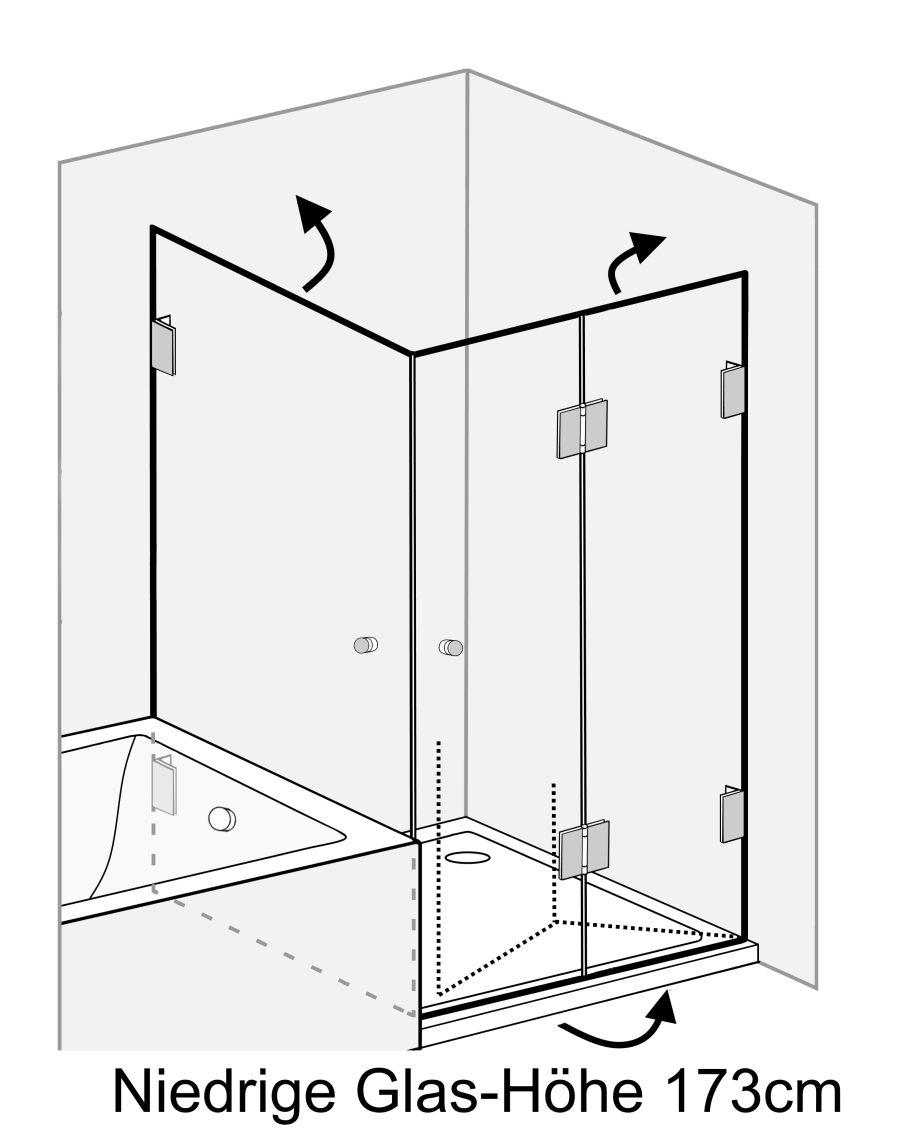 Eck Falt-Dusche mit 2 Türen ESG Glas H=173cm