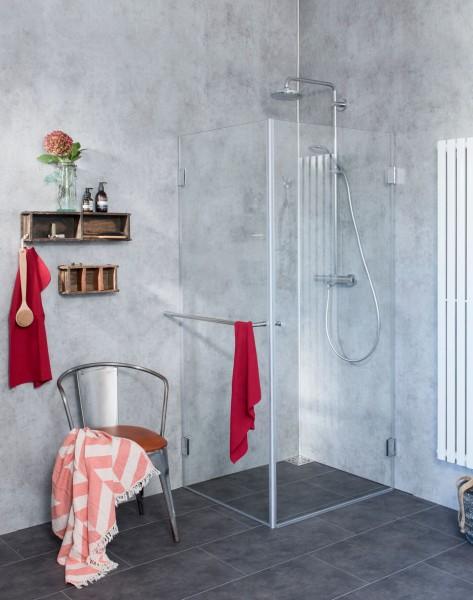 Eck-Dusche mit Festwand, ESG Glas, H=195cm, A1S