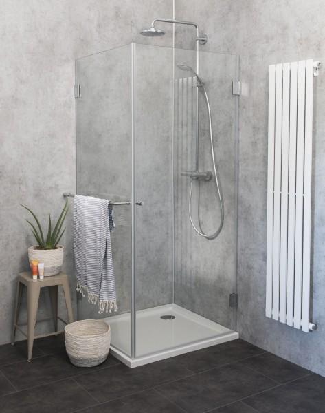 Eck-Dusche mit Festwand Duschkabine mit Duschwanne ESG Glas 75x75cm H=173cm