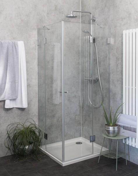 Eck-Dusche mit 2 Türen Duschkabine mit Duschwanne ESG Glas 100x90cm H=195cm