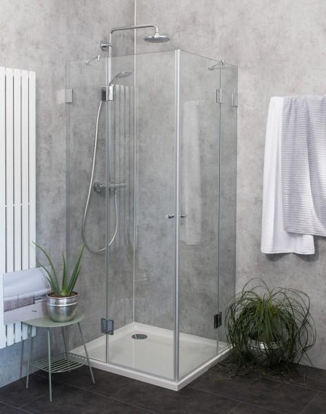 Eck-Dusche mit 2 Türen Duschkabine mit Duschwanne ESG Glas 90x80cm H=195cm