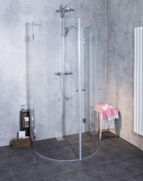 Halbkreis-Dusche mit 2 Türen ESG Glas H=195cm