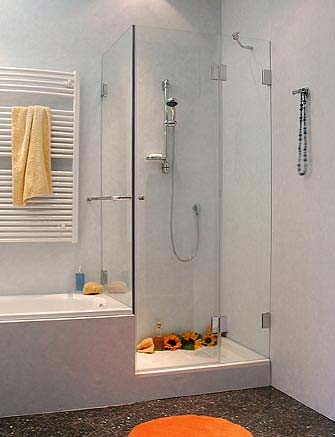 Eck-Dusche mit Festwand verkürzt Sondermaß ESG Glas Chrom
