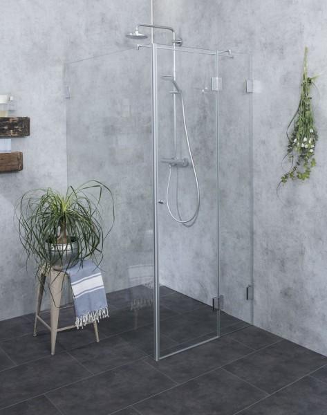 Bündige Eck-Duschkabine Festwand ESG Glas Chrom H=195cm