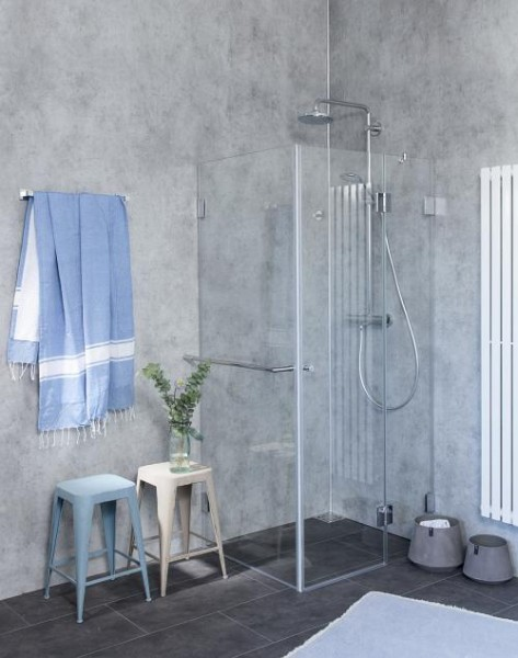 Eck-Dusche mit Festwand, ESG Glas, H=195cm, A2S