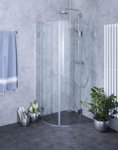 Viertelkreis-Dusche mit 2 Türen, ESG Glas, H=195cm, A2V