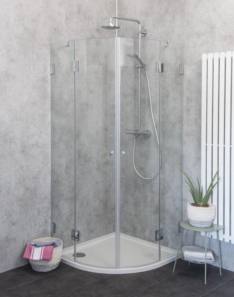 Viertelkreis-Dusche mit 2 Türen Duschkabine mit Duschwanne ESG Glas 90x90cm H=195cm