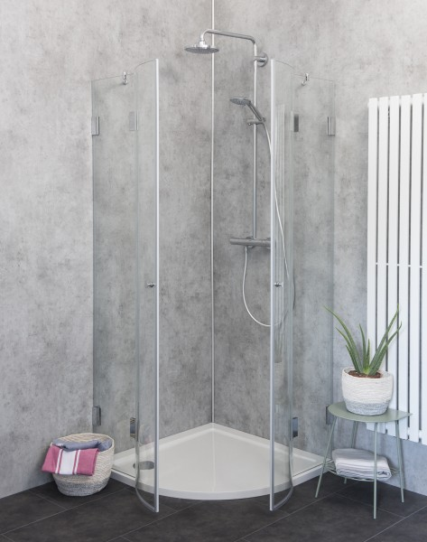 Runddusche aus Glas mit zwei Türen A2V