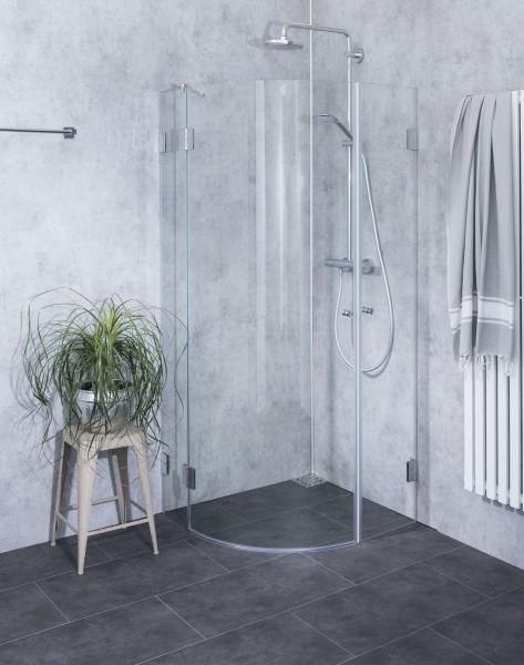 Viertelkreis-Dusche mit Innentüre ESG Glas H=195cm