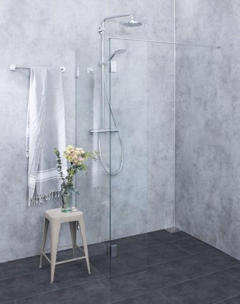 Bündige freistehende Duschwand ESG Glas Chrom H=195cm