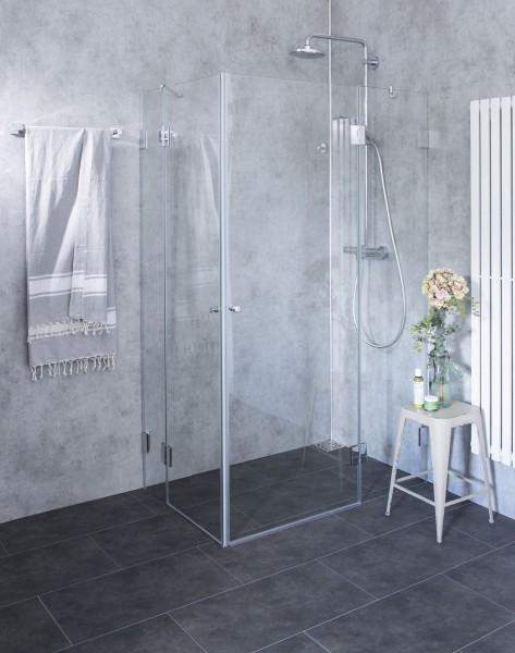 Eck-Dusche mit 2 Türen ESG Glas Chrom H=195cm