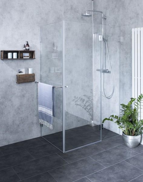Eck-Dusche mit Festwand, ESG Glas, H=195cm, AXS