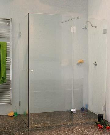 Bündige Eck-Duschkabine 2 Türen ESG Glas H=195cm
