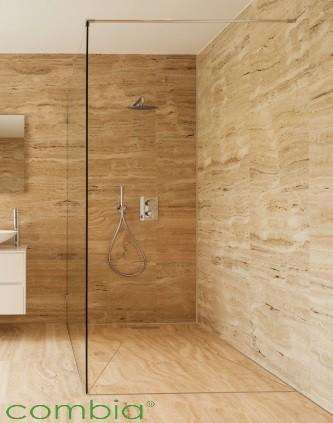 Duschboard befliesbar mit Rinne Eck-Form bodengleiches Duschelement auf Maß bis 150x150cm