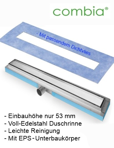 Ablaufrinne Duschrinne superflach auf EPS Träger Einbau-Höhe=53mm Länge=70cm