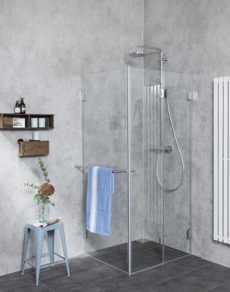 Eck Falt-Dusche mit Festwand ESG Glas H=173cm