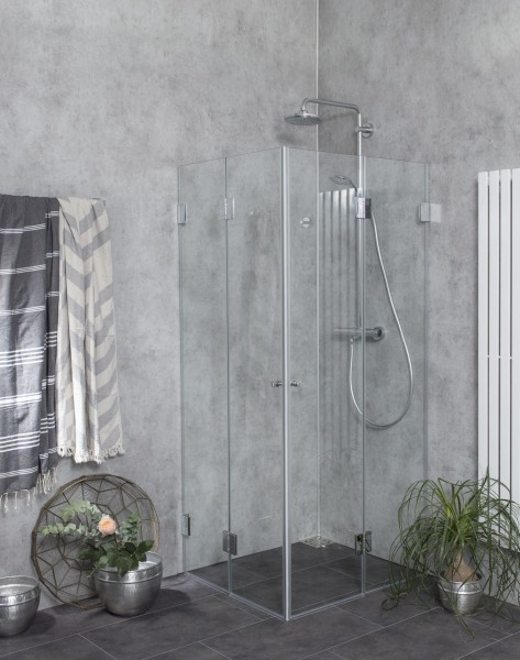 Eck Falt-Dusche mit 2 Falt-Türen ESG Glas H=195cm